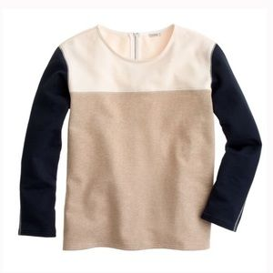 J.CREW BACK-ZIP COLORBLOCK SWEATSHIRT